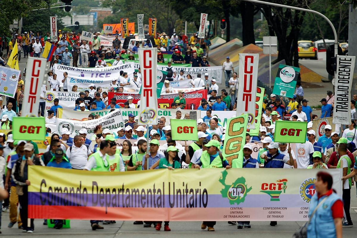 Demonstrators taking part in May Day protests in Medellin, Colombia, on May 1, 2016.