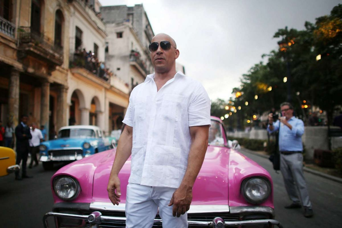 Actor Vin Diesel poses before a fashion show by Karl Lagerfeld in Cuba on May 3, 2016.