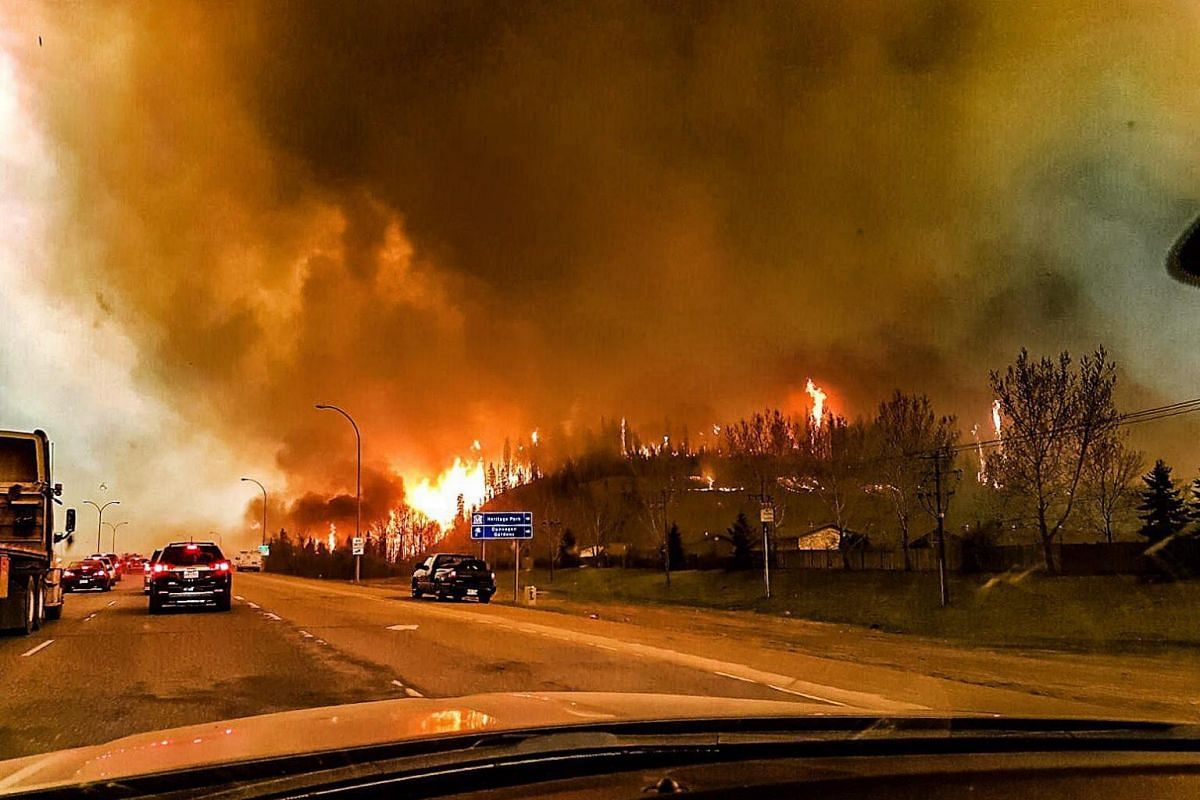 A wildfire raging through the town of Fort McMurray, Canada, on May 3, 2016.
