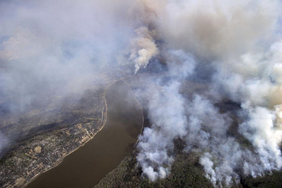 A Canadian Joint Operations Command aerial photo shows wildfires near Fort McMurray, Alberta, Canada on May 4, 2016.