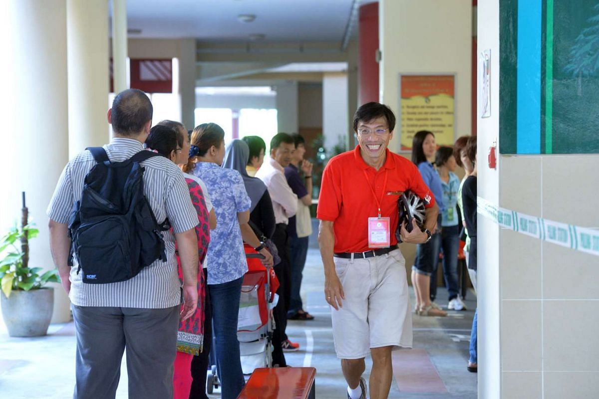 Singapore Democratic Party (SDP) candidate Chee Soon Juan at the Bukit Batok Secondary School polling station.
