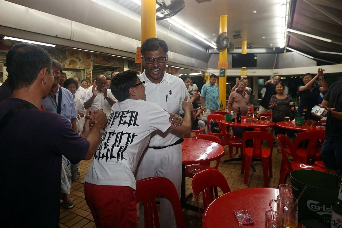 PAP's Murali Pillai thanking residents at a coffeeshop at Blk 155 Bukit Batok street 11 after winning the Bukit Batok by-election.