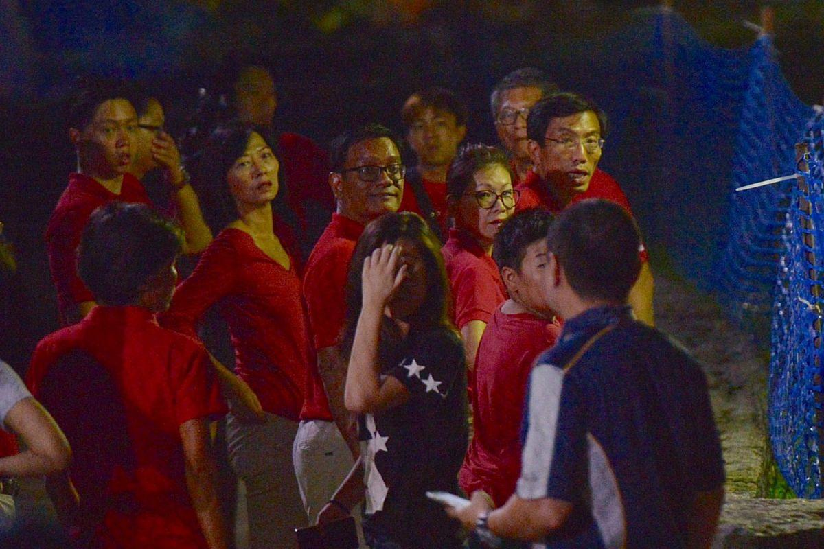 Dr Chee Soon Juan arriving at Bukit Gombak Stadium at 10.50pm on polling night.