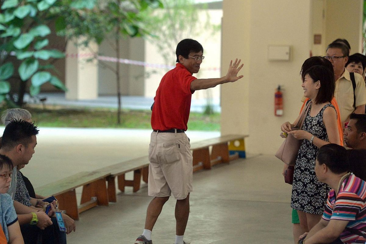 SDP candidate Dr Chee Soon Juan seen at the Bukit Batok secondary school polling station.