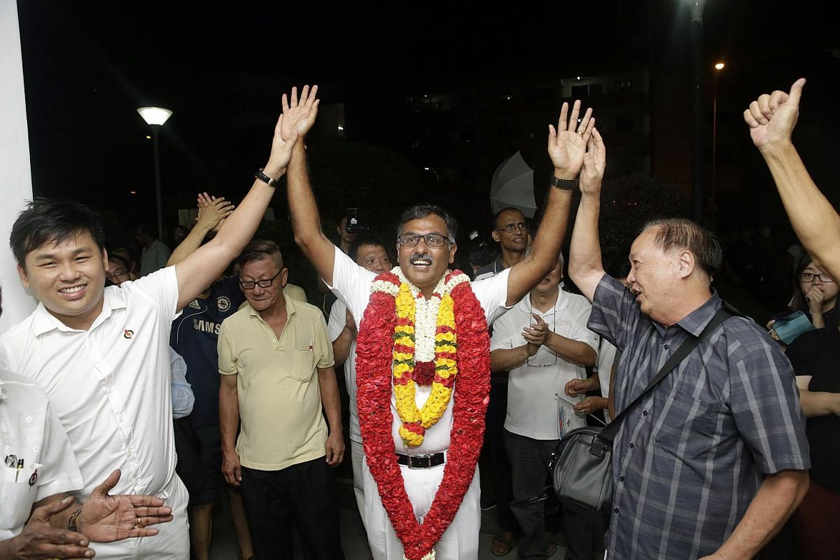 PAP's Murali Pillai acknowledging the cheers after being announced winner.