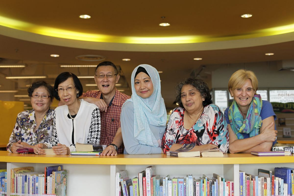 Senior citizens (from far left) Tai Lung Keow, 69, Shirley Chui, 68, Richard Lam, 66, Hasanah Mohamed Sohdi, 54, Shamimah Mujtaba, 60, and Sonja America, 55, get together to talk about books that interest people in their age group.