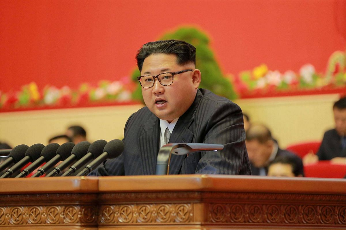 North Korean leader Kim Jong Un speaks during the Workers' Party Congress in Pyongyang.