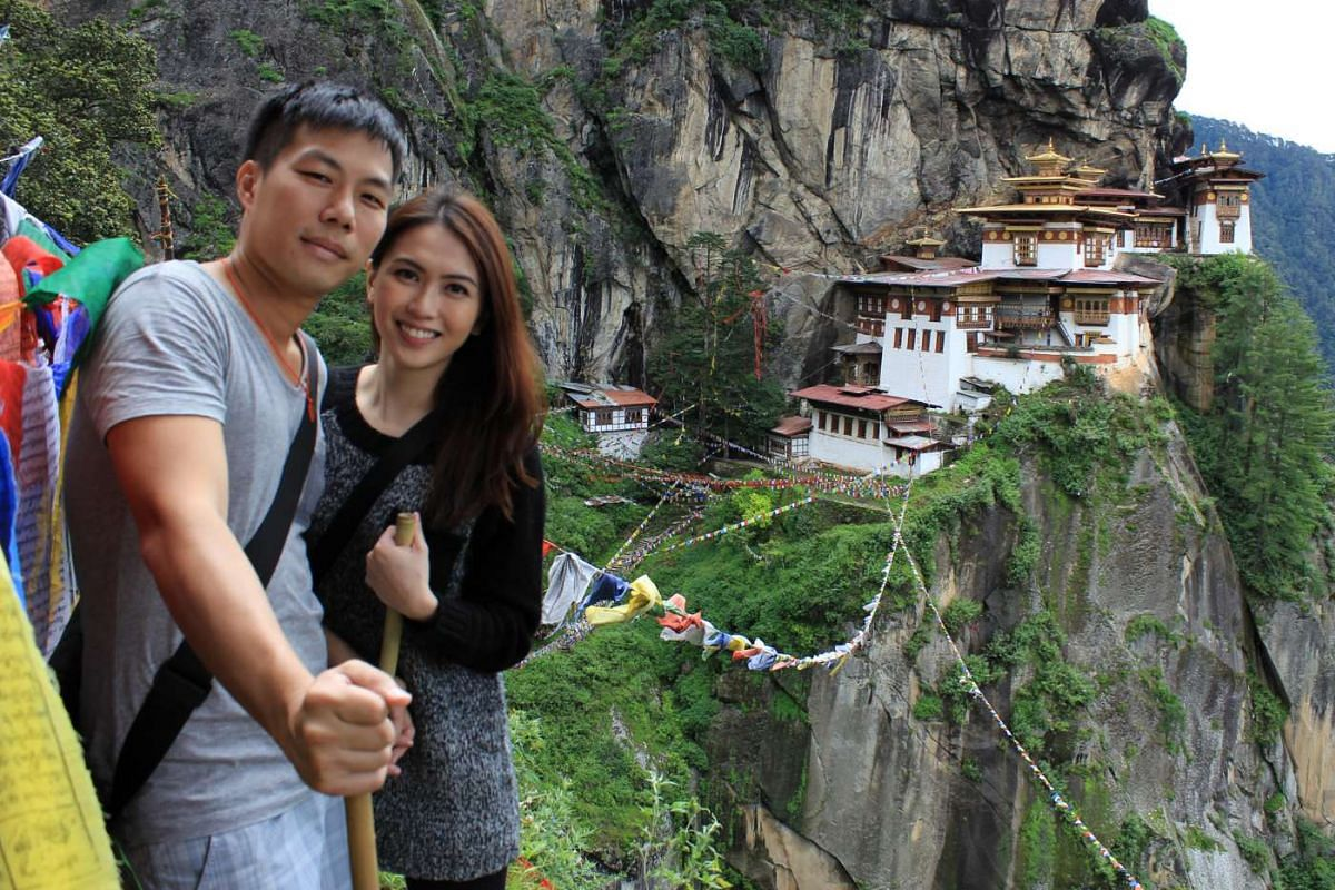 My life so far: Mr Chen, who proposed to Ms Chew (both above) in Bhutan in 2013, at Tiger's Nest in the Himalayan kingdom.