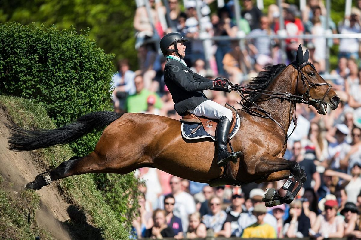 Sweden's Henrik Lanner and his horse Vivaldi in action during the German Show Jumping and Dressage Derby in Klein Flottbek in Hamburg, Germany, on May 8, 2016.