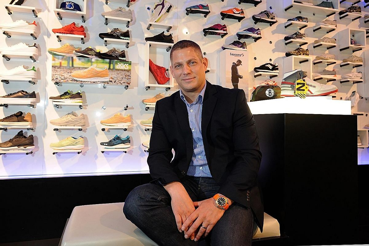 Mr David Westhead (above), Royal Sporting House's Asia-Pacific chief executive officer, at The Social Foot's Orchard Central store. Opened by the Known Group, multi-brand sneaker shop Seek (left, Ion Orchard outlet) also offers apparel and accessorie
