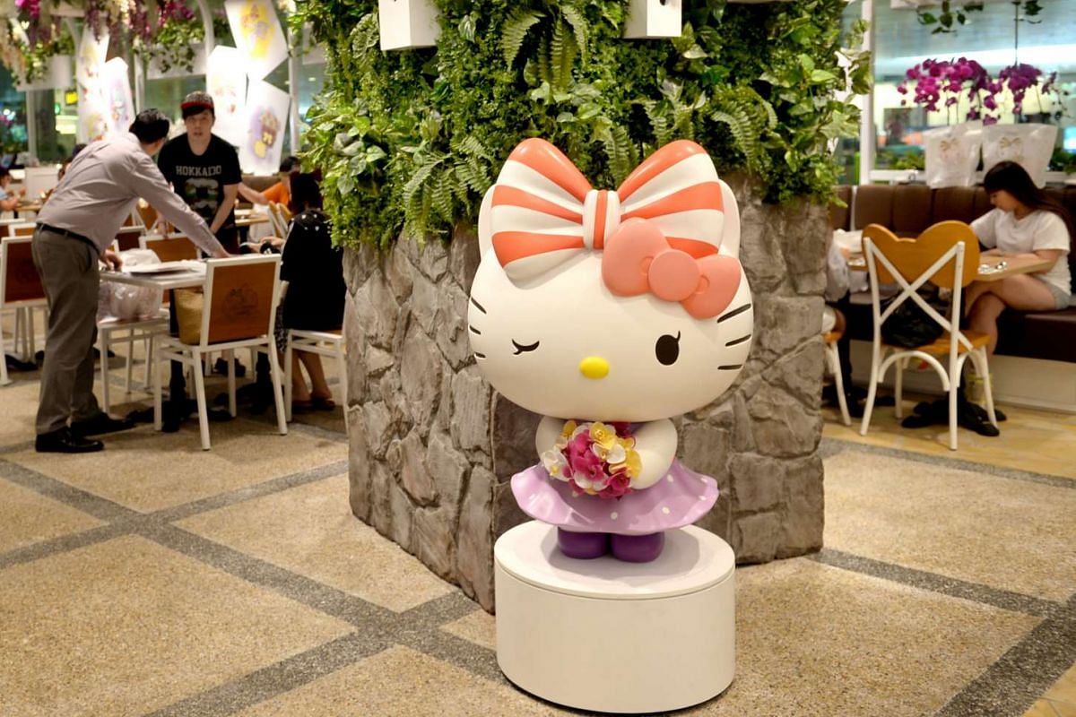 Hello Kitty themed decorations are seen in the Hello Kitty cafe in Changi Airport Terminal 3, on May 12, 2016.