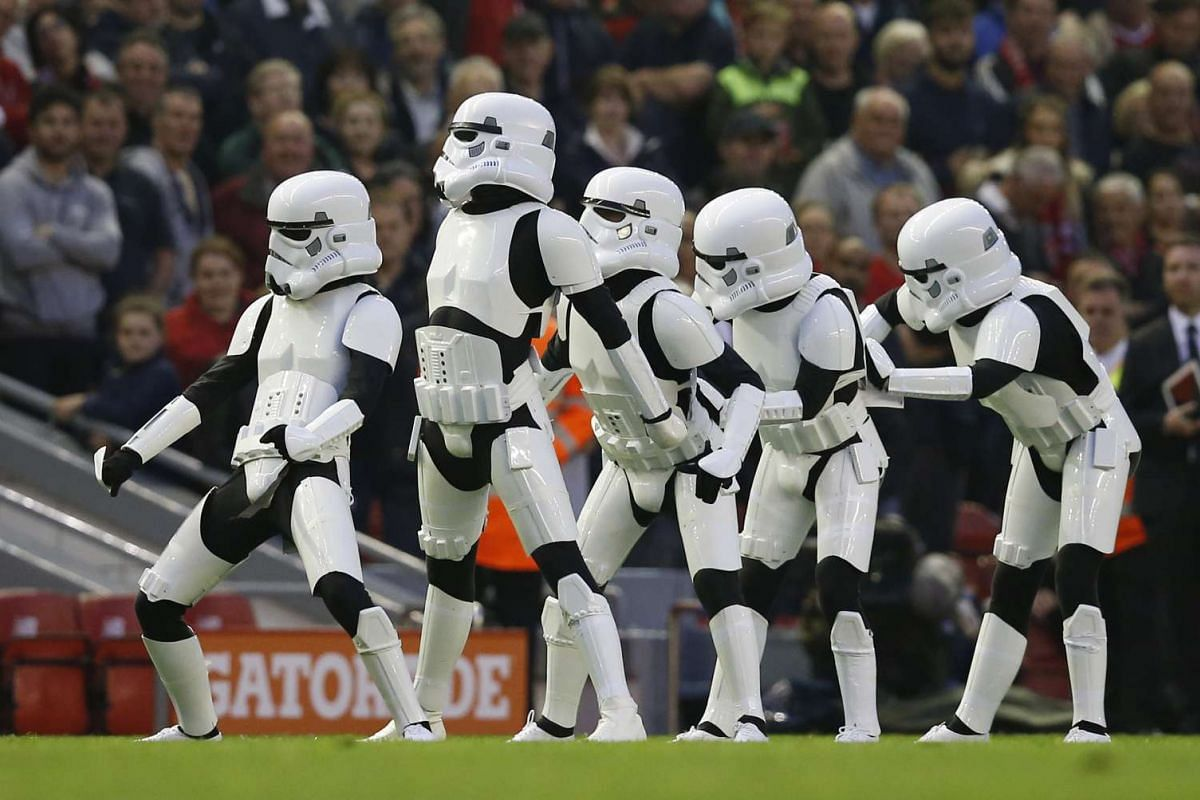 Storm Troopers on the pitch at half time during the Barclays Premier League between Liverpool and Chelsea, on May 11, 2016.