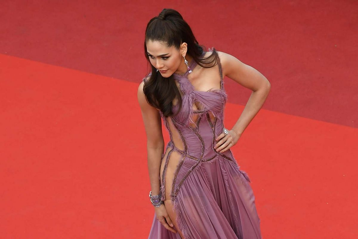 British-Thai actress Araya Hargate arriving for the screening of Money Monster at the 69th Cannes Film Festival on May 12.