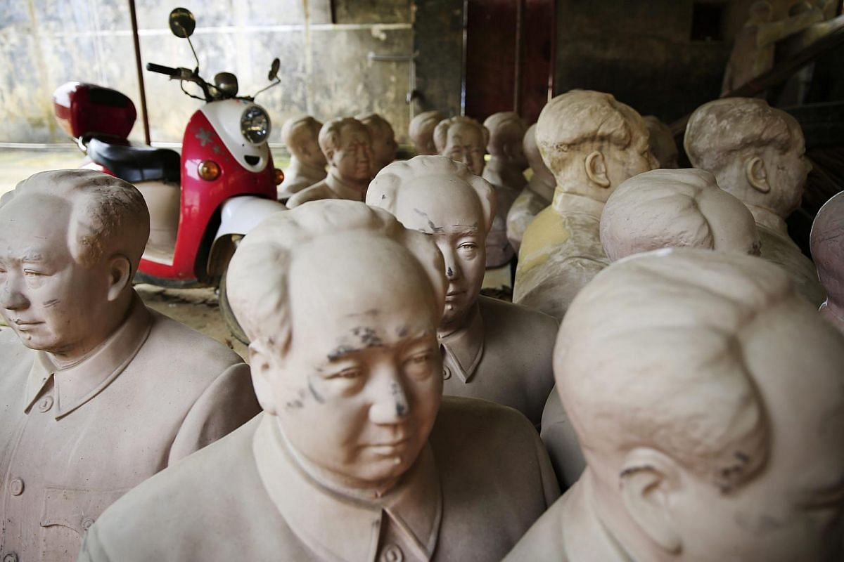 Mao Zedong statues in a sculpture workshop in Shaoshan, Hunan Province in central China, on April 29, 2016.