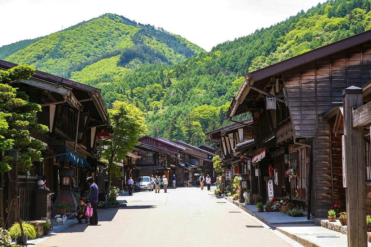The Nakasendo walk passes through the heart of Narai post town (above).