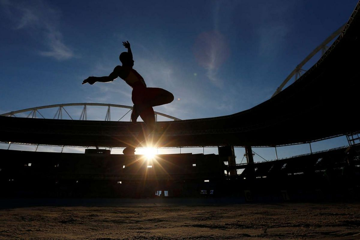Spain's Jean Okutu takes part in the Men's Long Jump Final during the Ibero-American Athletics championship at the Rio Olympic stadium, in  Rio de Janeiro, on May 15, 2016.