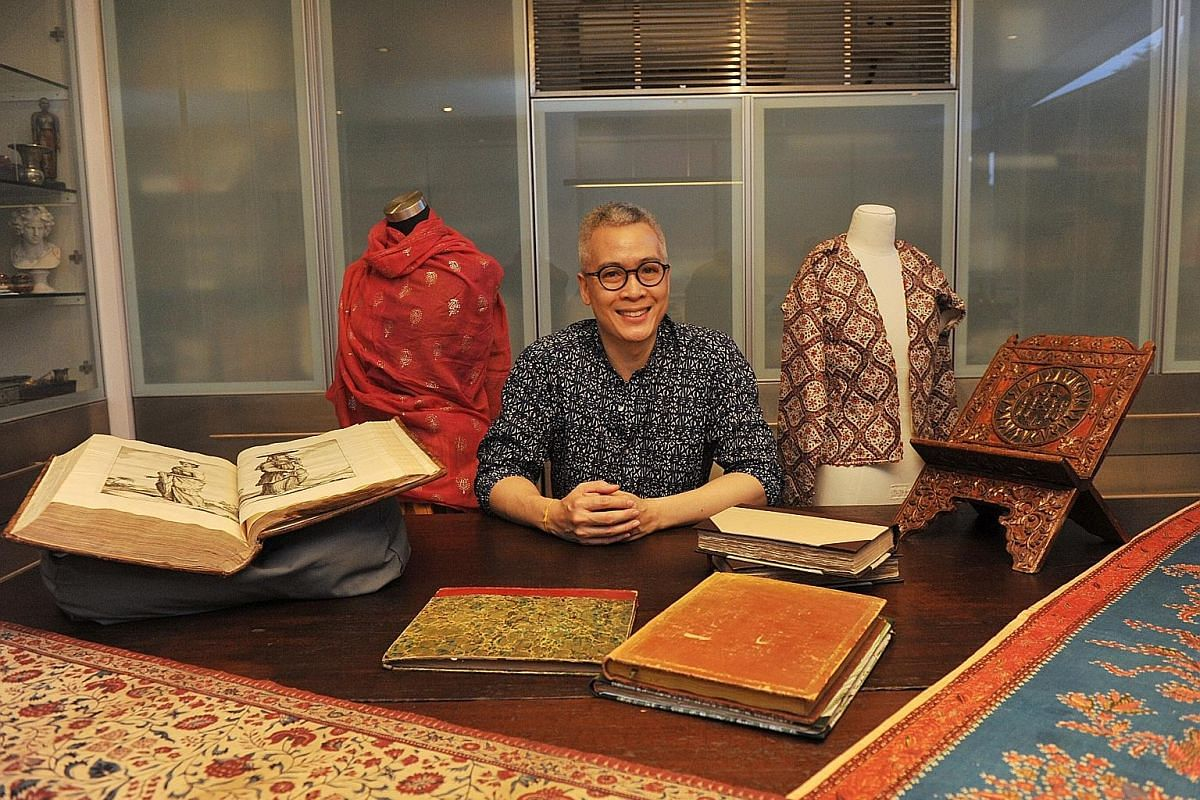 Peter Lee in the studio that houses his extensive archive of textiles sourced from all over the world.