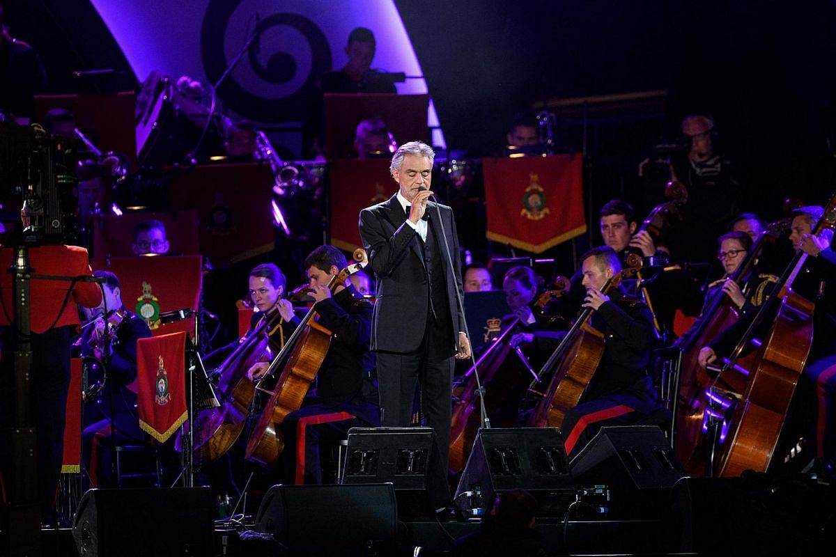 Italian singer Andrea Bocelli performs at the Royal Windsor Horse Show in the grounds of Windsor Castle on May 15, 2016.