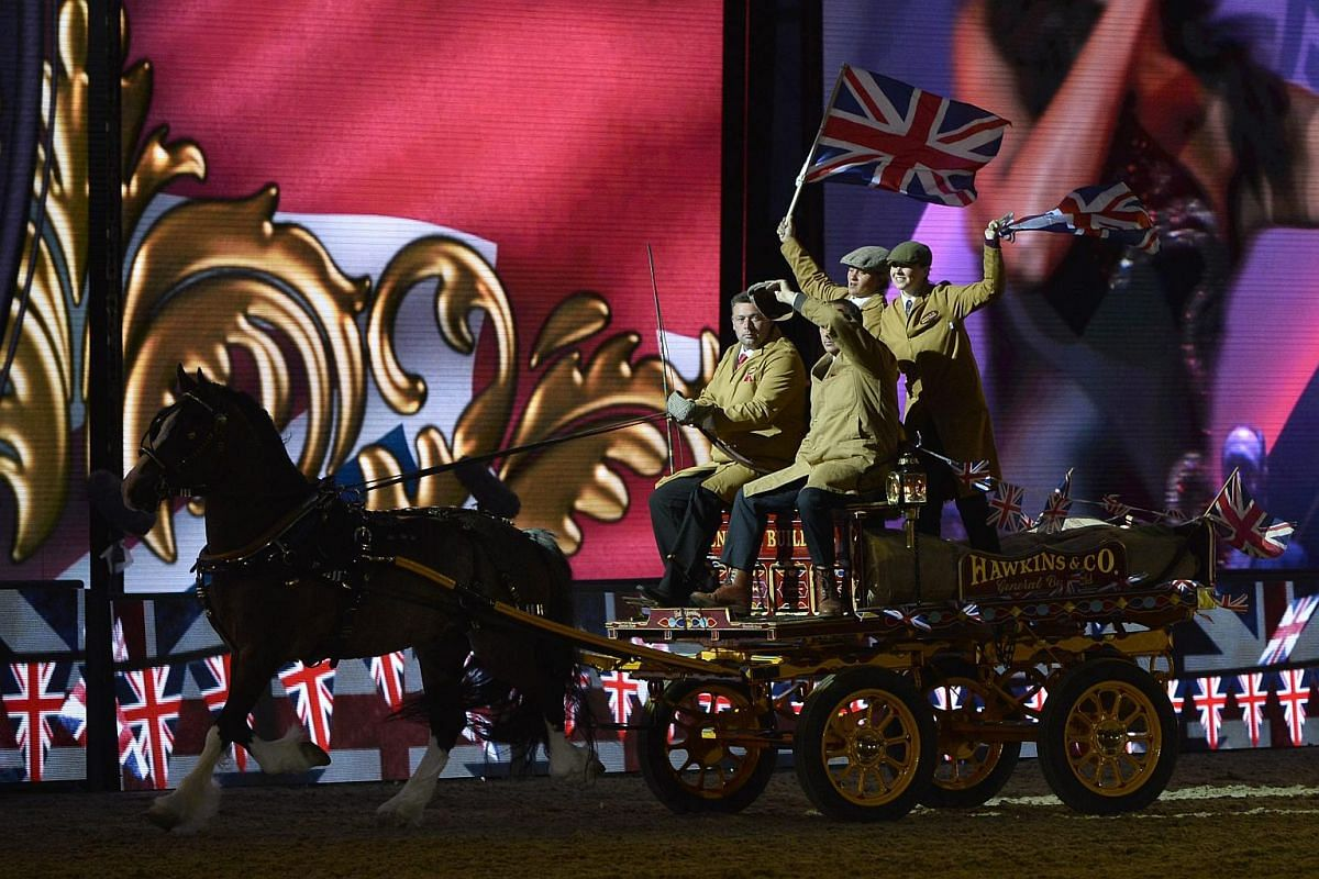 Performers participate at Queen Elizabeth II's 90th birthday celebrations at the Royal Windsor Horse Show in the grounds of Windsor Castle on May 15, 2016.