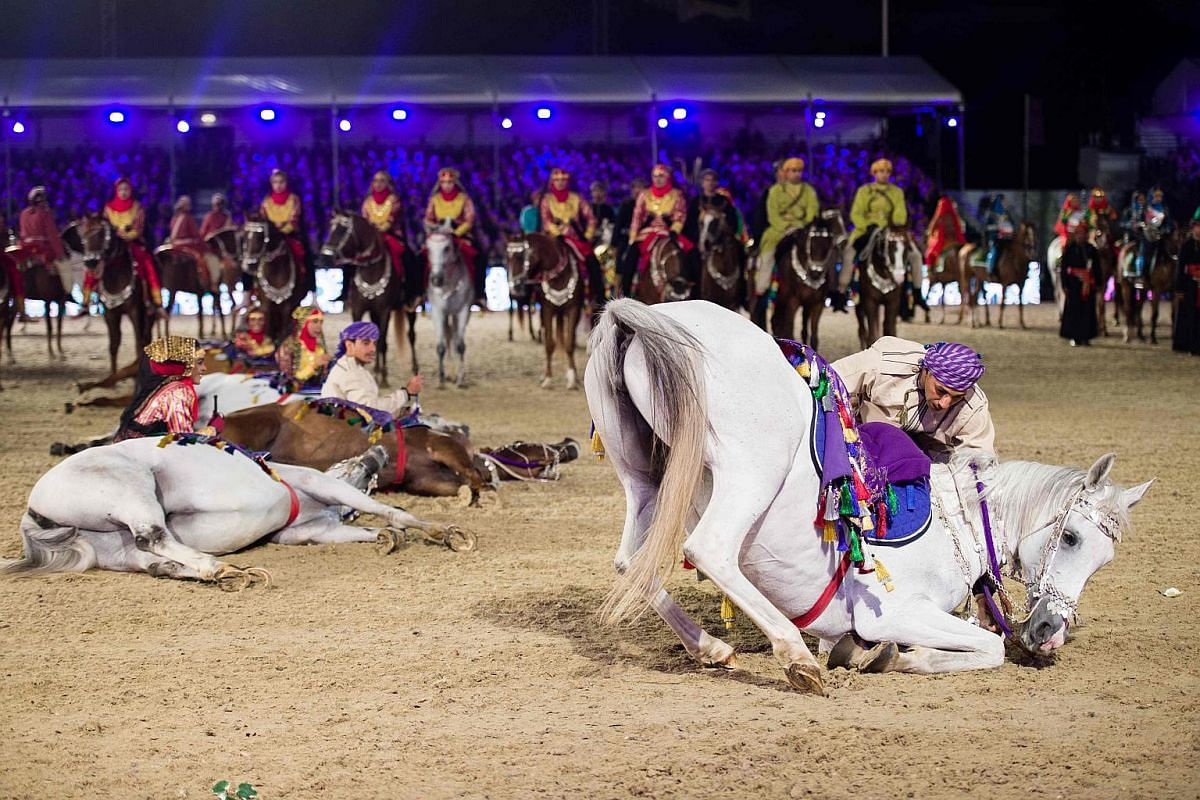 The Royal Cavalry of Oman perform for Queen Elizabeth II during the final night of The Queein's 90th Birthday Celebrations at the Royal Windsor Horseshow in the grounds of Windsor Castle on May 15, 2016.