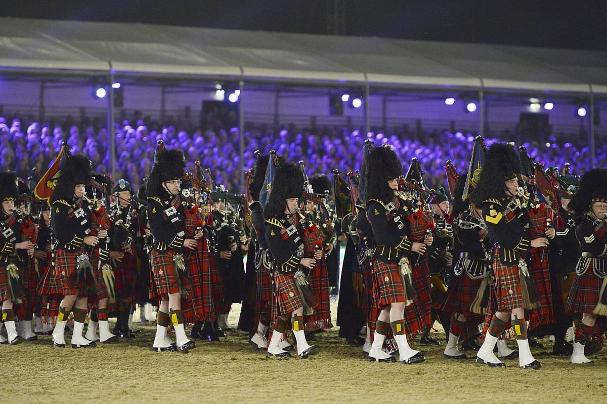 The band of the Scots Guards perform during Queen Elizabeth II's 90th birthday celebrations at the Royal Windsor Horse Show in the grounds of Windsor Castle on May 15, 2016.