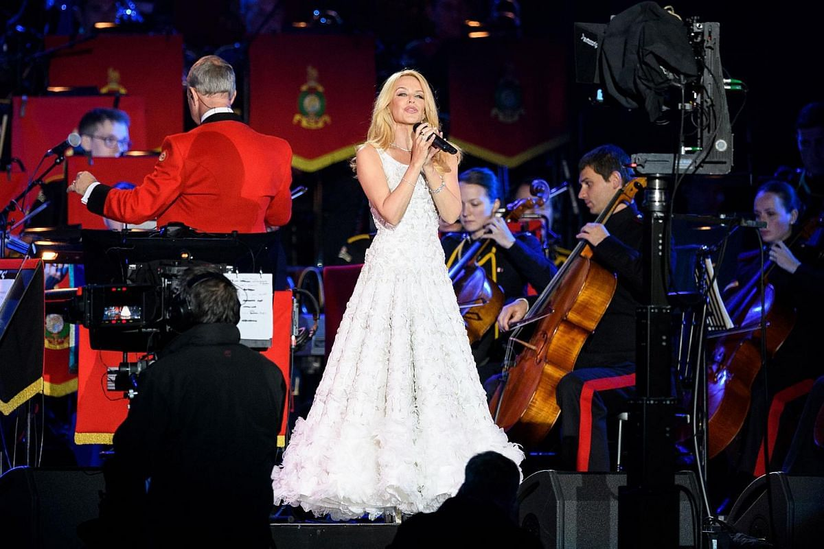 Australian singer Kylie Minogue performs for The Queen at the Royal Windsor Horseshow in the grounds of Windsor Castle on May 15, 2016.