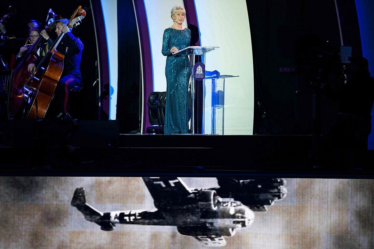 British actress Helen Mirren performs for Queen Elizabeth II at the Royal Windsor Horseshow in the grounds of Windsor Castle on May 15, 2016.
