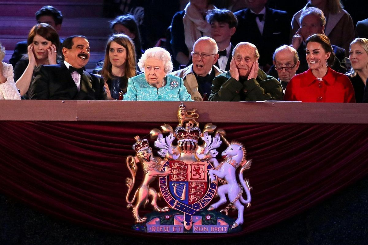 Camilla, Duchess of Cornwall, Prince Philip, Duke of Edinburgh and Catherine, Duchess of Cambridge along with Queen Elizabeth II during the final night of the Queen's 90th Birthday Celebrations at Windsor on May 15, 2016.