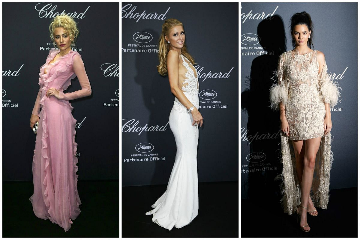 From left: British singer Pixie Lott, TV celebrity Paris Hilton and US model Kendall Jenner arrive at the Chopard Wild party, on the sidelines of the 69th Cannes film festival.