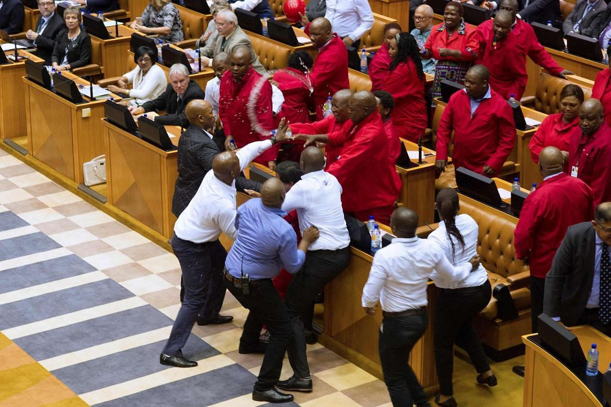 A brutal fistfight broke out in the South African parliament on May 17, 2016, as security guards ejected opposition lawmakers in an ugly fracas that underlined heightened political tensions over Jacob Zuma's presidency. PHOTO: AFP