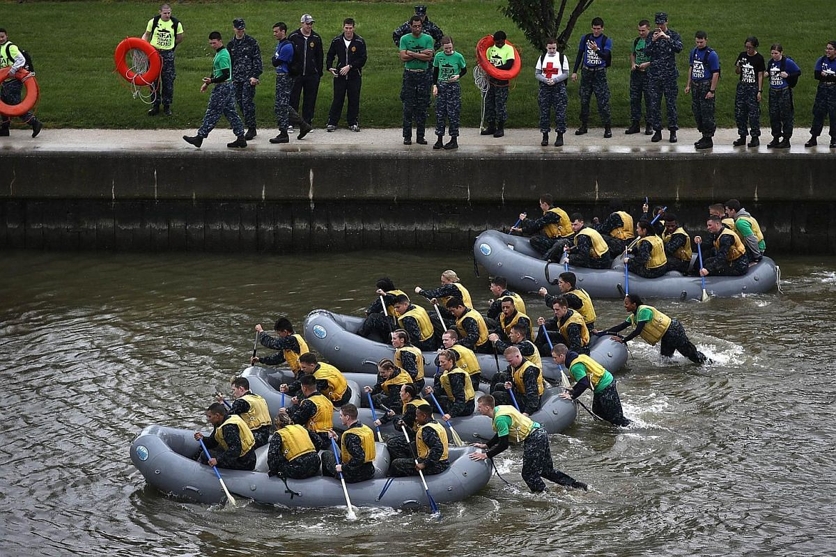 Naval Academy plebes competing in Zodiac races during the annual Sea Trials on May 17, 2016.
