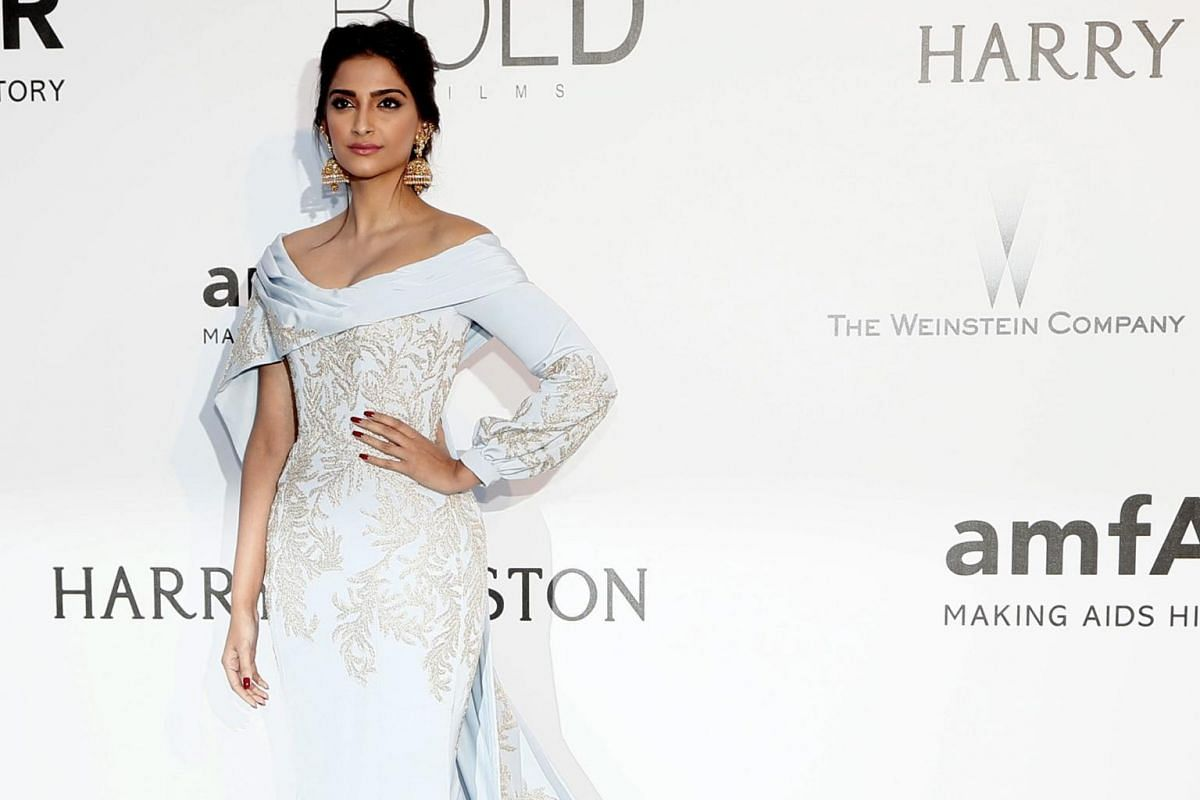 Bollywood actress Sonam Kapoor attending the amfAR's Cinema Against Aids 2016 gala.