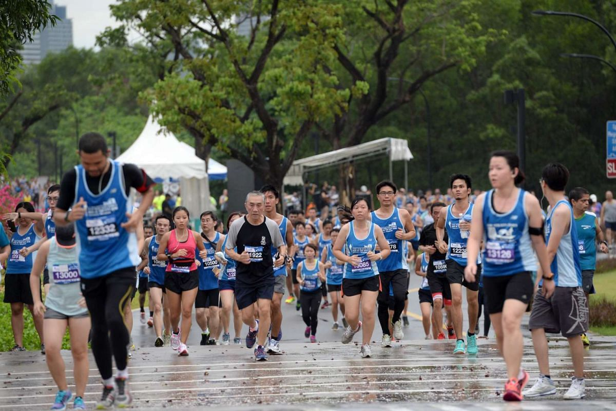 Participants taking part in The Straits Times Run 2016, on May 22, 2016.