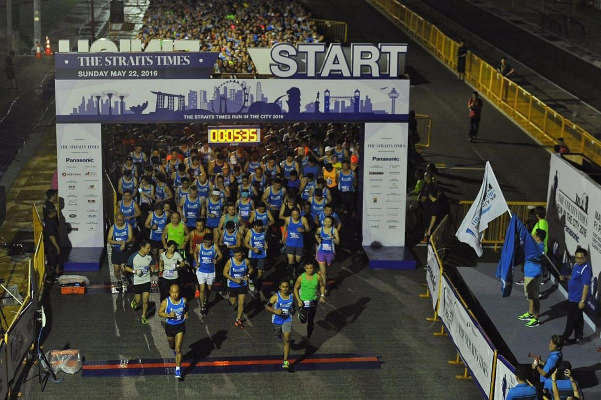 Participants get ready for the start of the 18.45km race.