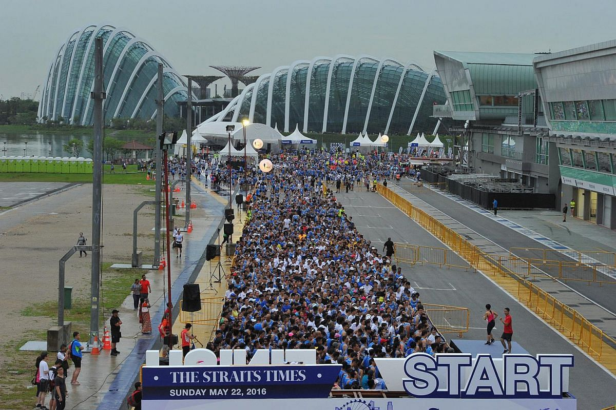 Participants get ready during the start of the 5km race.