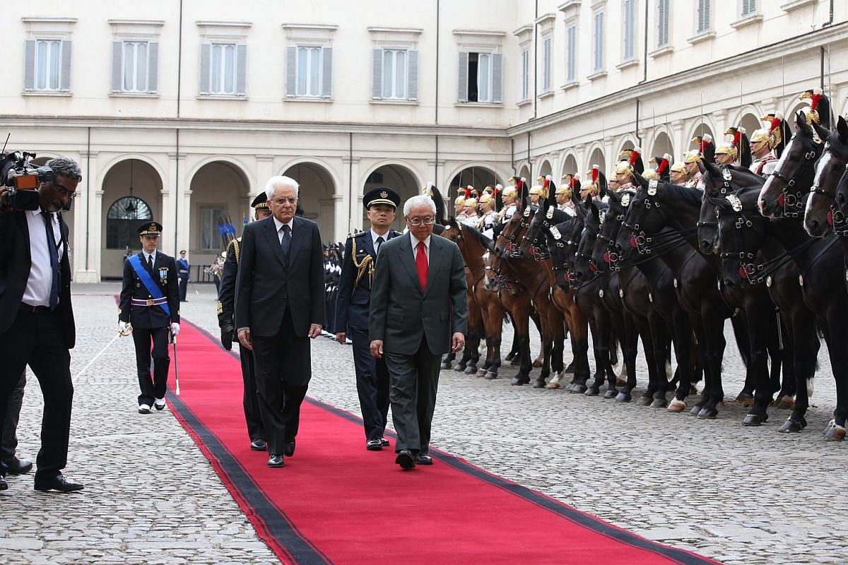 Day 1: President Tony Tan (right) and Italian President Sergio Mattarella inspecting the guard of honour, which included Presidential Guards on horseback, at the Palazzo del Quirinale.
