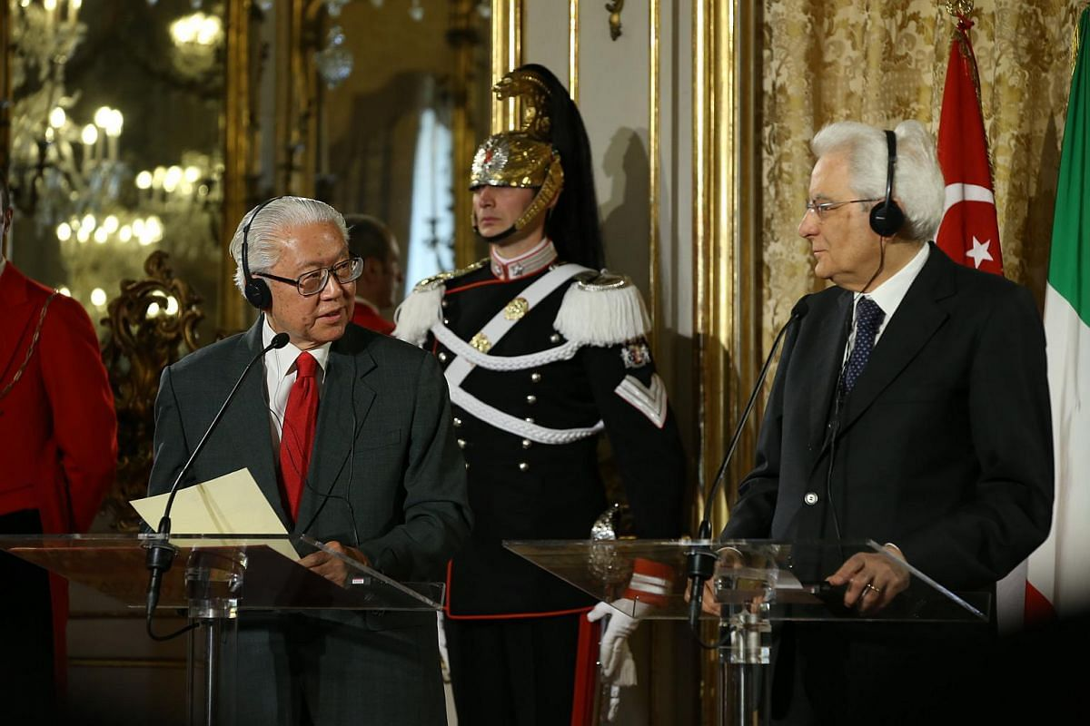 Day 1: President Tony Tan (left) and Italian President Sergio Mattarella addressing the media after their meeting at the palace.