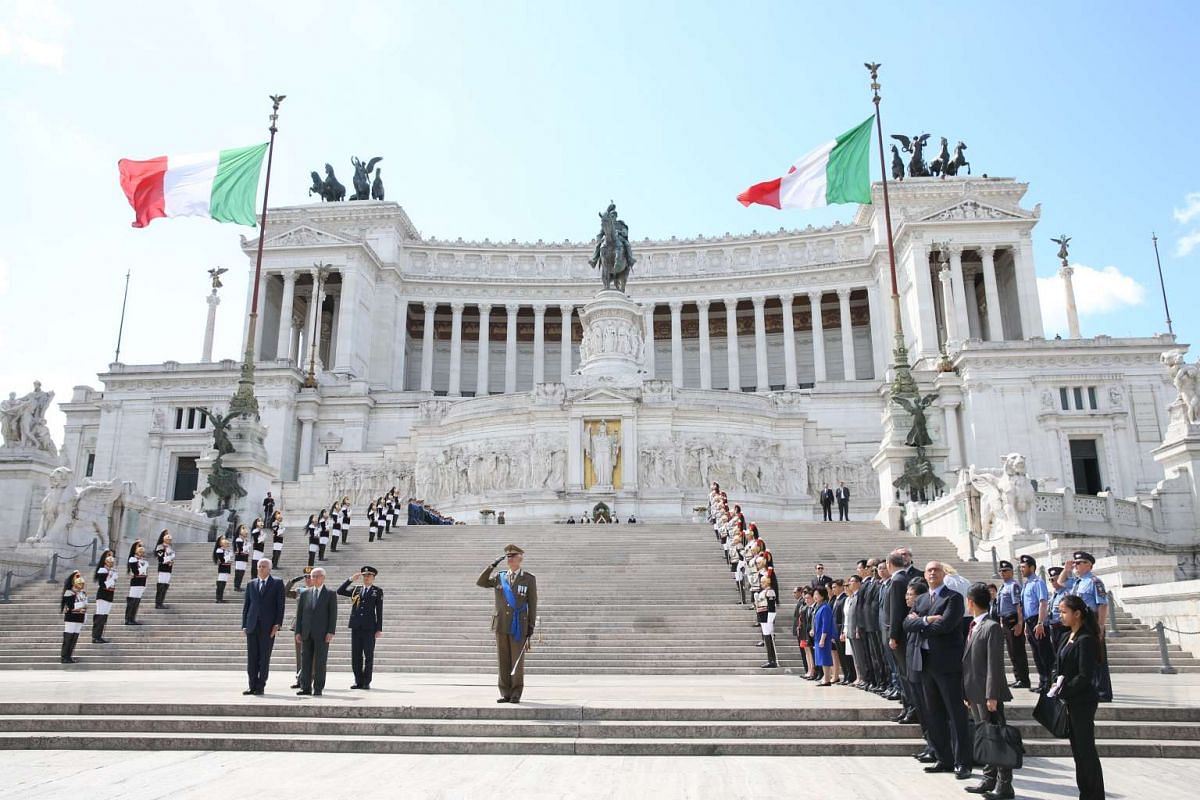 Day 3: President Tony Tan Keng Yam was received by Italy's Environment Minister Gian Luka Galletti at the Altare della Patria, a monument to the first king of a unified Italy Victor Emmanuel II. Dr Tan laid a wreath at the Tomb of the Unknown Soldier