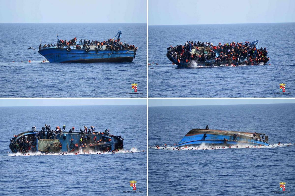 This combination of handout pictures released on May 25, 2016, by the Italian Navy (Marina Militare) shows the shipwreck of an overcrowded boat of migrants off the Libyan coast. At least seven migrants have drowned after the heavily overcrowded boat
