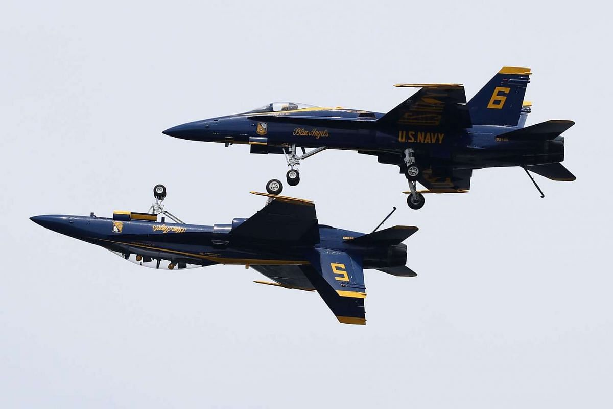The US Navy Blue Angels perform manoeuvres over the US Naval Academy May 25, 2016, in Annapolis, Maryland. PHOTO: GETTY IMAGES/AFP