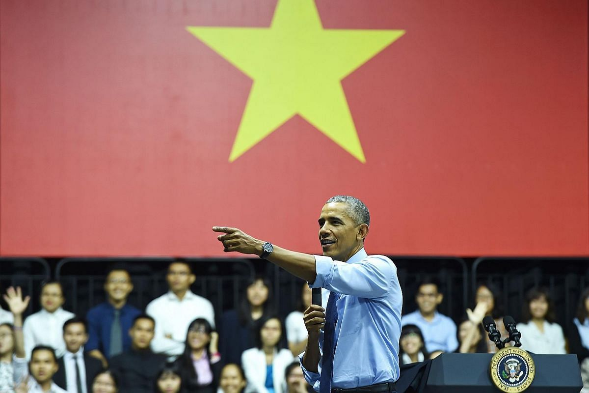 US President Barack Obama (centre) speaking at a Young South-east Asian Leaders Initiative event in Ho Chi Minh City on May 25.