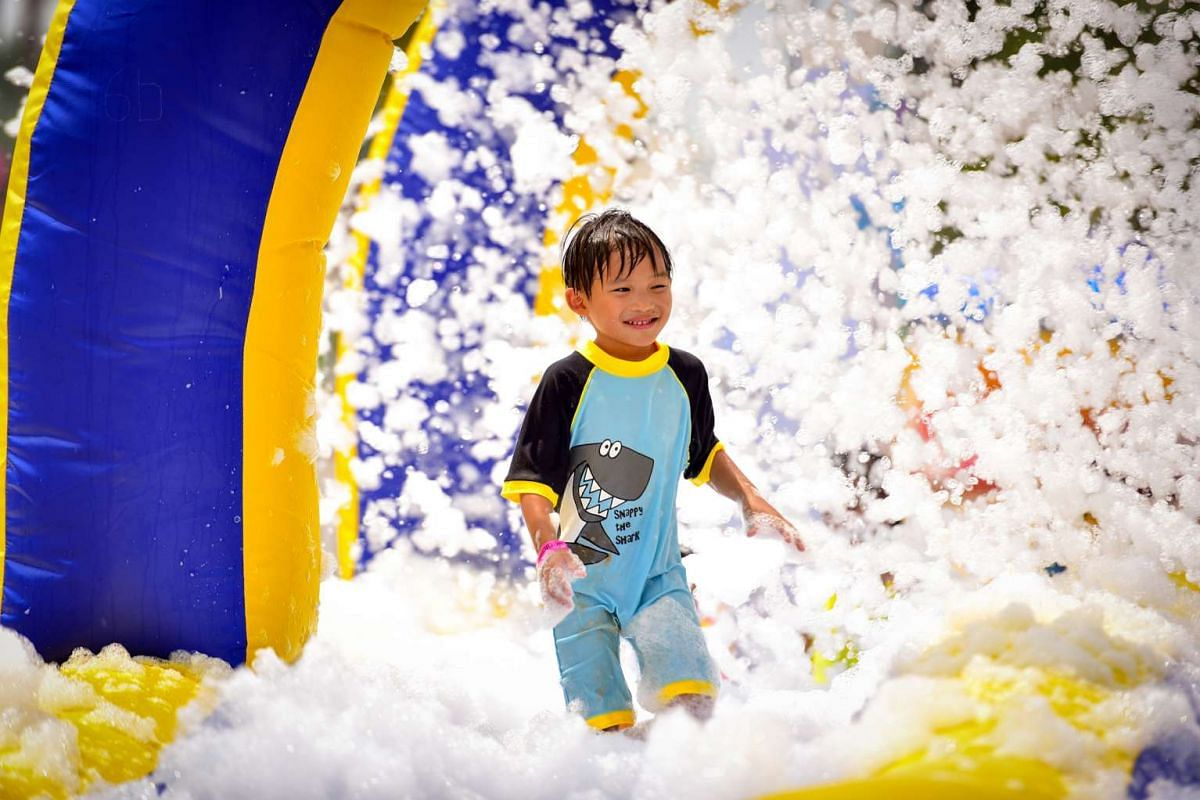 Kids can have bubbly fun at the foam pool at Sentosa FunFest.