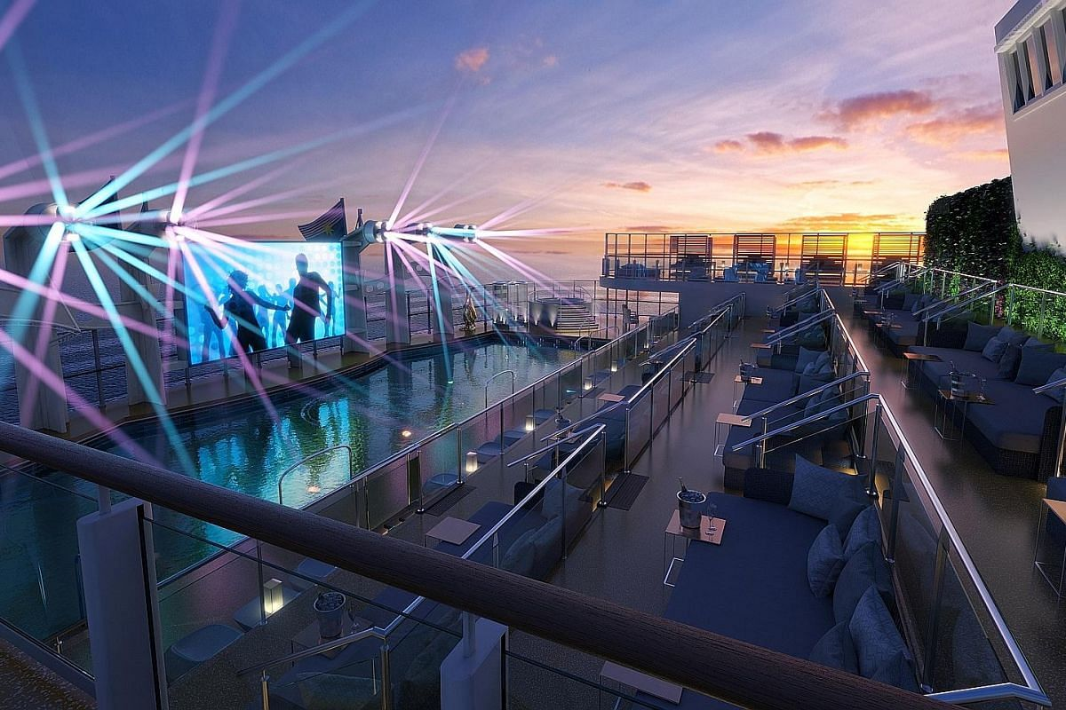 Zouk Beach (above) on Genting Dream (left) has an outdoor day and night party deck with a splash pool and music supplied by DJs.