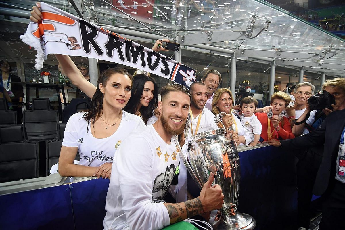 Sergio Ramos celebrates with girlfriend Pilar Rubio Fernandez (left) after Real Madrid won the Uefa Champions League Final.