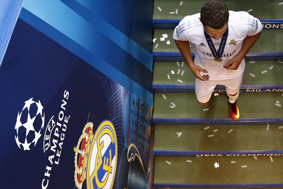 Cristiano Ronaldo walks off after winning the Uefa Champions League.