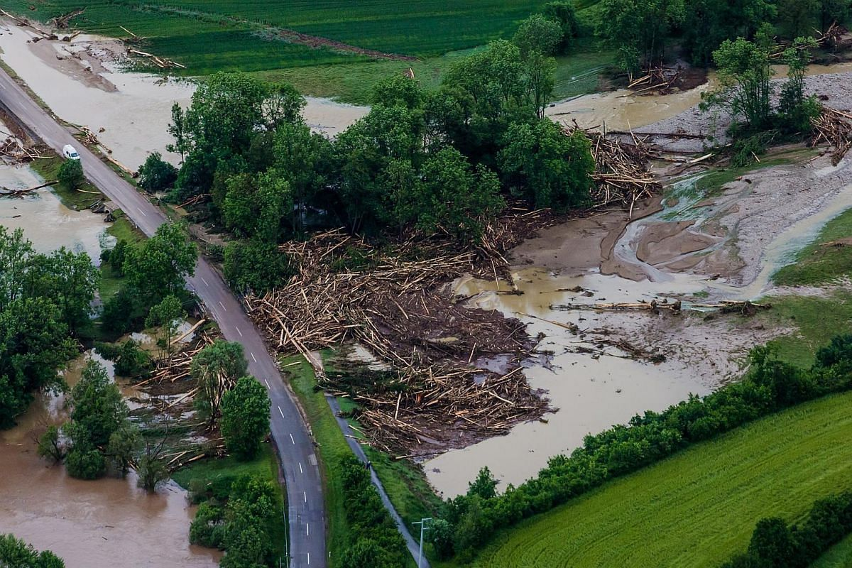 Flood damage seen after heavy storms and severe weather hit parts of southern Germany causing floods, near Braunbach, Germany.