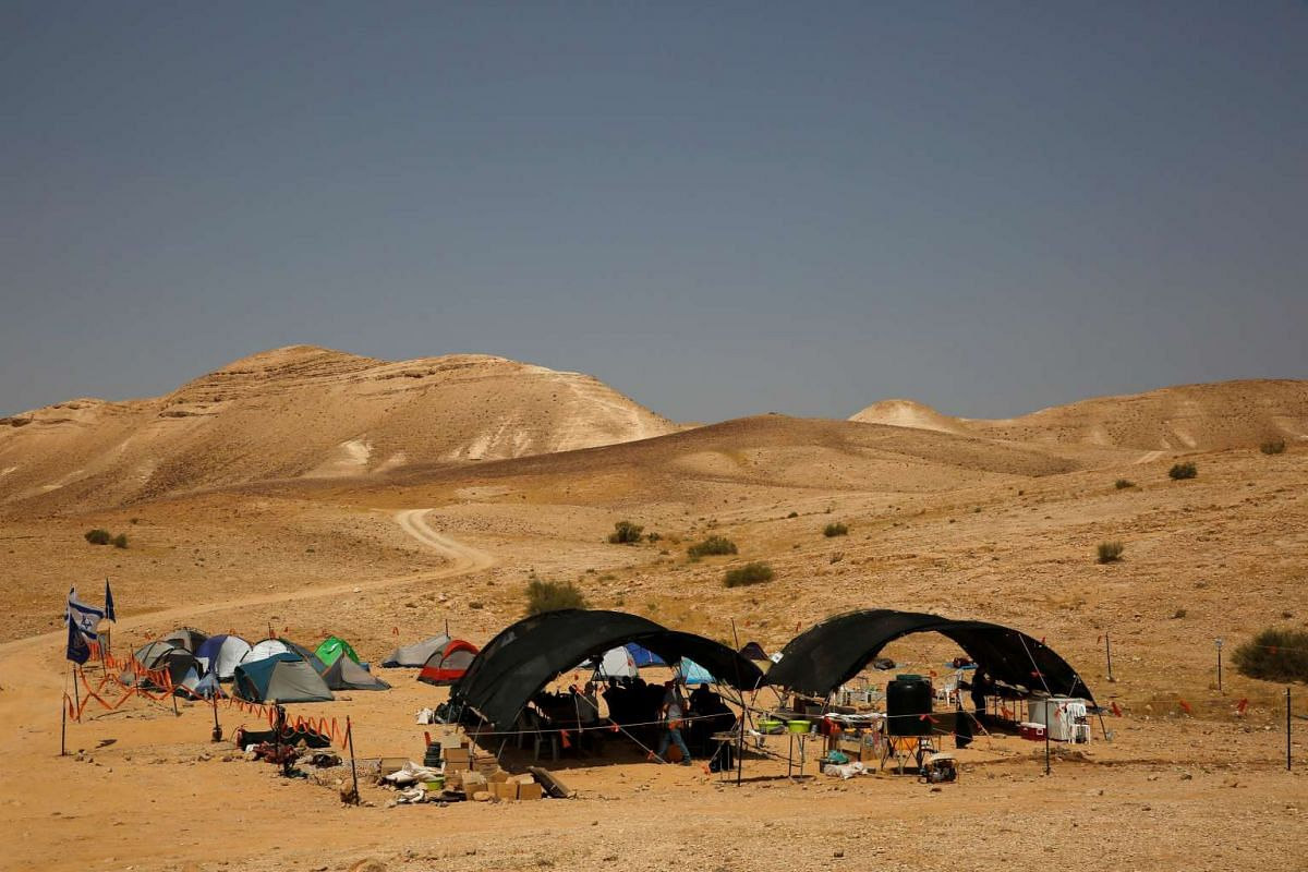 An Israeli Antique Authority camp is seen near the Cave of the Skulls in the Judean Desert, in Israel, on June 1, 2016.
