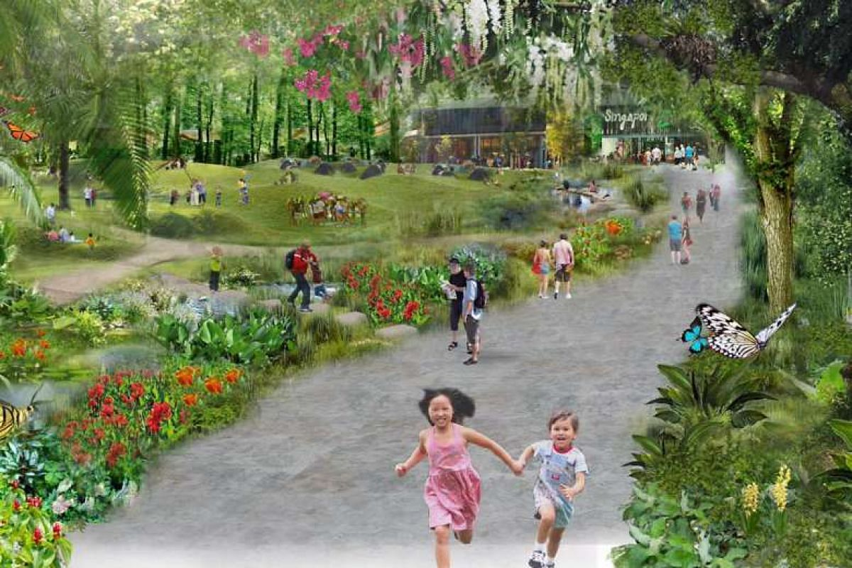 Artist's impression of the public green spaces at the new site.