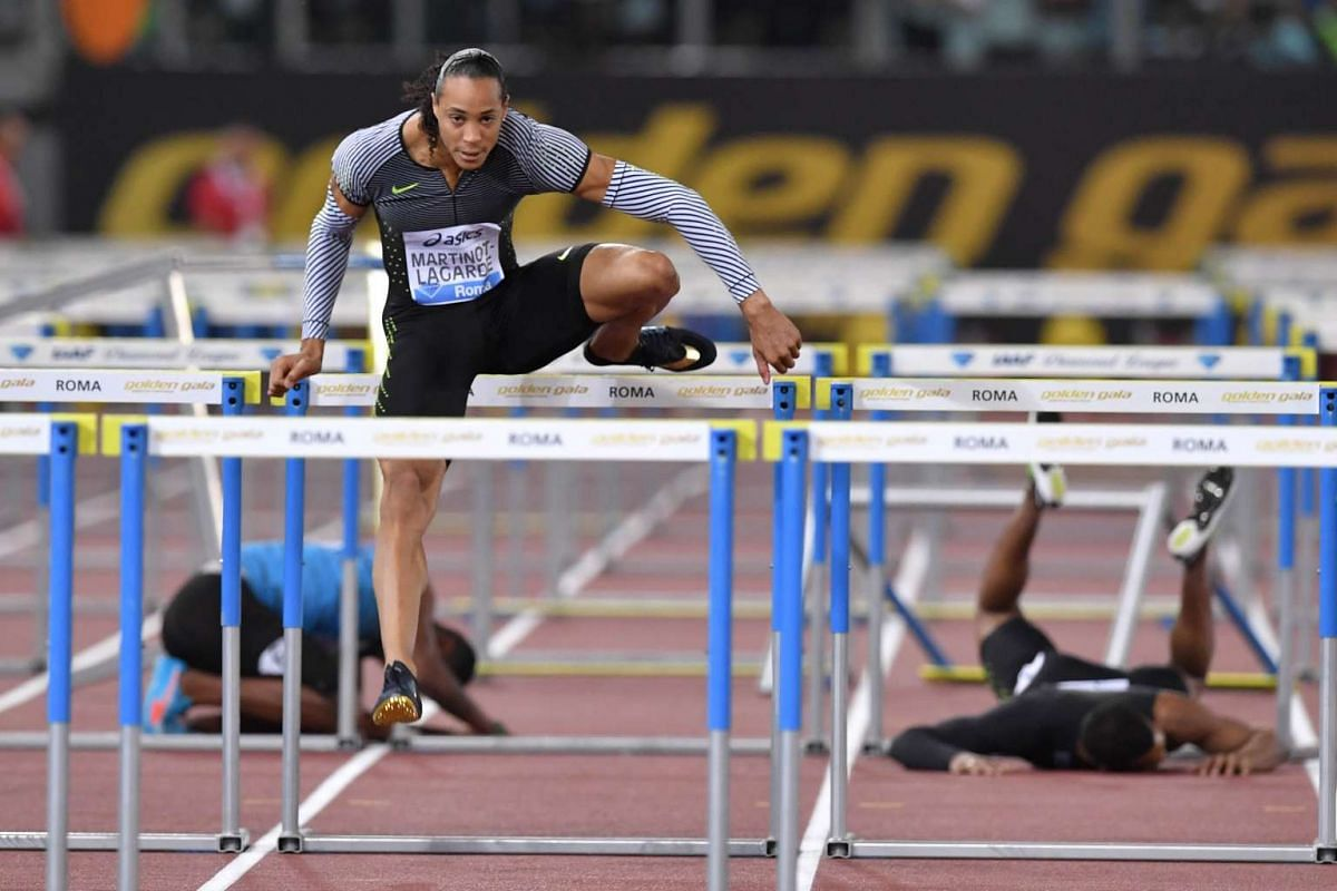 France's Pascal Martinot-Lagarde competes in the Men's 110m Hurdles event at the Rome's Diamond League competition on June 2, 2016 at the Olympic Stadium in Rome. PHOTO: AFP