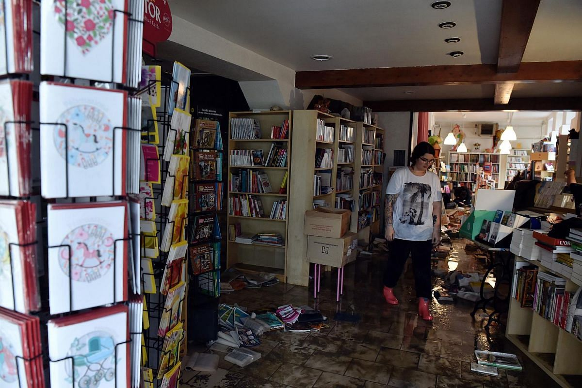 A devastated bookstore is pictured on June 2 in Montargis, south of Paris.